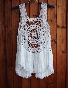 Fringe vest Boho vest Hippie vest Beach cove up Knitted vest Crochet vest Boho chic Country-style ve
