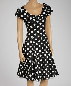 Black & White Polka Dot Cap-Sleeve Dress