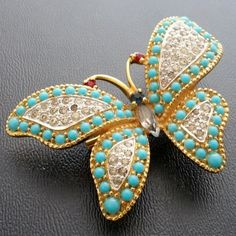 Vintage Brooch Pin Glass Rhinestone Navette Red Faux Turquoise Butterfly