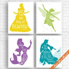 Fairy Tale and Princess Quotes - Set of 4 Art Print (Unframed) (Featured in Yellow, Bamboo, Violet and Ocean ) Peter Pan Prints