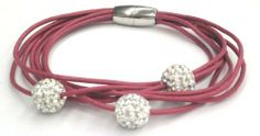 Dark Pink Multi Strand Leather Bracelet with White Pave Crystal Disco Balls. Magnetic Easy Closure. 8 Inch Length Pavel Steel. $14.99