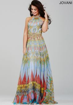 Jovani 23419 BOHO Chic Print Halter Evening Gown Prom Dress