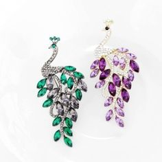 Crystal Peacock Pins Rhinestone Emerald Peacock Brooches Gunmetal