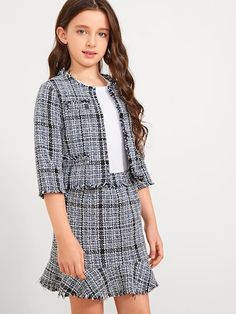 To find out about the Girls Raw Hem Tweed Top & Skirt Set at SHEIN, part of our latest Girls Two-piece Outfits ready to shop online today! Dresses Kids Girl, Kids Outfits Girls, Girl Outfits, Cute Outfits, Girls Fashion Clothes, Fashion Kids, Fashion Outfits, Clothes For Women, Mode Abaya
