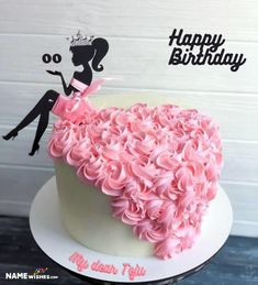 Girly birthday cake with name is the unique and pretty birthday wish idea for girls. Try this idea by writing your girl friends name on this girly cake 30th Birthday Cake For Women, 35th Birthday Cakes, Queens Birthday Cake, 50th Birthday Cake Toppers, Elegant Birthday Cakes, Pretty Birthday Cakes, Birthday Cake Decorating, Cake Designs For Girl, Rodjendanske Torte