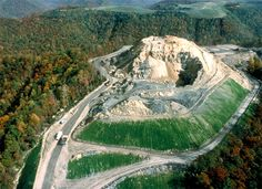 mountaintop removal and reclamation landscapes, Big Coal River watershed.