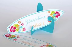 Set of 10 Tropical Beach Hawaiian Surfboard