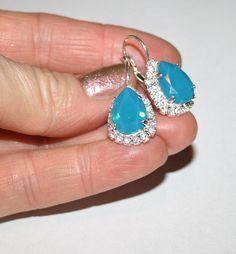 Blue Opal Rhinestone Earrings, Carribean Blue Opal Swarovski Pear shape Teardrop Silver Earrings, Sparkling Statement Blue Wedding Jewelry