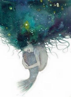 Watercolor art of a Mermaid with green & blue hair looks like space