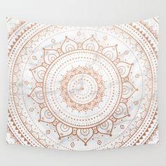 Dreamer Mandala White On Rose Gold Wall Tapestry