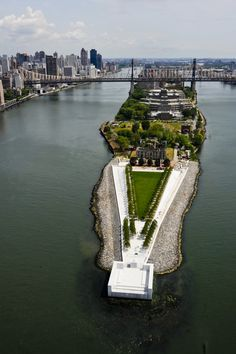 Louis Kahn's Four Freedoms Memorial in Manhattan -- a granite room at the water's edge...