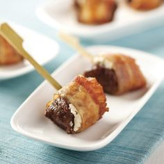 Beef Tenderloin & Gorgonzola Bites -- the hors d'oeuvre that puts all others to rest. juicy beef tenderloin, perfectly seasoned, is topped with creamy piquant Gorgonzola cheese and wrapped with smoky, applewood bacon.