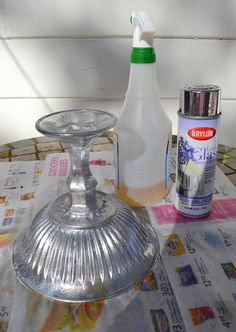 DIY: Faux Mercury Glass Pedestal Bowl (From Dollar Store or Thrift Store Finds)   DIY               glass bowl, glass candle stick, E6000 glue, silver spray paint, vinegar  water, lint free cloth