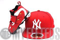 New York Yankees Nike Air Diamond Turf II Matching New Era Kids Fitted Hat