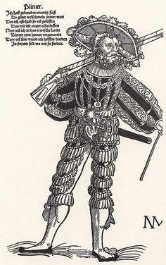 Title: Büttner als Landsknecht Tags: Katzbalger, Kuhmaul shoes, Hat, Landsknecht, Neckchain, Gun, Stripes Date: ca. 1535 Artist: Niklas Stör Provenance: Germany Collection: Germanisches Nationalmuseum