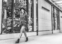 Fall fashion, leather shorts, military blouse, Burberry, black booties, http://the-unprecedented.ca/realitytvdating-2/