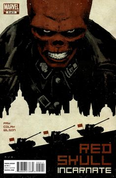 Red Skull Cover: Portrait of Red Skull with Tanks and City Silhouette Marvel Comics Poster - 30 x 46 cm Comic Book Villains, Marvel Villains, Marvel Heroes, Comic Books Art, Book Art, Marvel Avengers, Captain America Villains, Captain America Comic, Marvel Comic Universe
