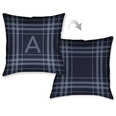Laural Home Plaid Navy Blue Monogram Decorative Throw Pillow (18 inches x 18 inches) (Z), Size 18 x 18