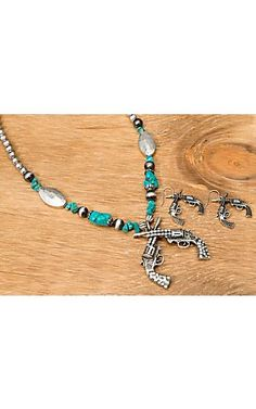 Wear N.E. Wear® Silver Crossed Pistols w/ Crystals & Turquoise Beads Jewelry Set | Cavender's Boot City