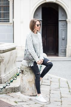 fall fashion, grey tassel sweater
