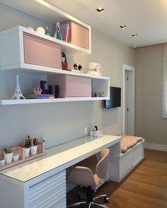 Best Home Office Quarto Moderno 27 Ideas Girl Bedroom Designs, Girls Bedroom, Bedroom Decor, Bedrooms, Home Room Design, Home Office Design, My Room, Girl Room, Study Table Designs