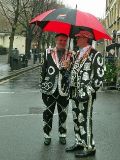 Pearly Kings sheltering from the London rain