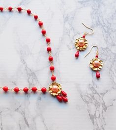 Items similar to Red coral necklace, gift for her, spectacular gemstone necklace with a golden flower pearl pendant, dangle earrings, ooak on Etsy Coral Jewelry, Cute Jewelry, Statement Jewelry, Jewelry Ideas, Diy Jewelry, Jewellery, Handmade Christmas Gifts, Xmas Gifts, Golden Flower