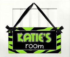 Black and Lime Green Zebra Print Teens Room Door SIGN by kasefazem, $8.99