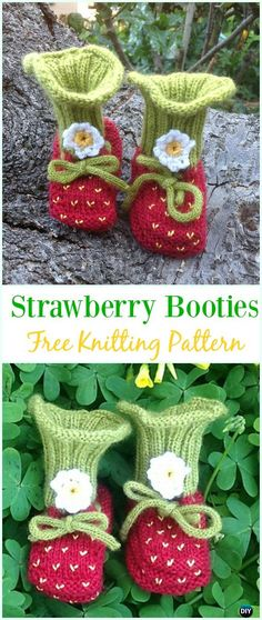 Knit Baby Strawberry Booties Free Pattern - Ankle High Baby #Booties; Free #Knitting; Patterns