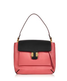 Dark pink & black leather shoulder bag by Chloé via @chloefashion pink and dark red leather shoulder bag with black piping trim, black flap to the top with gold-tone push clasp fastening, zipped pouch pocket to the front and a light pink leather interior with two compartments and one slip pocket