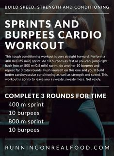 Try this killer sprints and burpee cardio workout to build strength, endurance, speed and power and improve your cardiovascular conditioning. This one is gonna leave you a sweaty mess, so get ready and go for it! Sprint Workout, Endurance Workout, Treadmill Workouts, Running Workouts, Easy Workouts, Hiit, At Home Workouts, Amrap Workout, Strength Workout