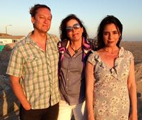(writers Brian Pittman and Rachel Long with actress Julie Carmen on location at Silver Strands Beach, 2013). Julie Carmen stars opposite Scott Eastwood, Rita Wilson and Jeff Fehey in the upcoming indie flick, DAWN PATROL, written by Brian Pittman and Rachel Long.