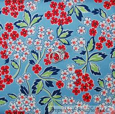 BonEful Fabric FQ Cotton Quilt Blue Red White Pink Green S Flower Leaf Retro Dot in Crafts,Sewing & Fabric,Fabric | eBay