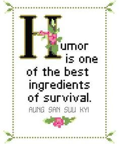 Humor is One of the Best Ingredients of Survival Aung San Suu Kyi Quote Cross Stitch Pattern (Instant PDF Download; Beginner Level) by WhatSheSaidStitches on Etsy