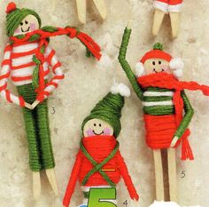 Miniature Clothespin Worry Dolls Craft Leaflets from DMC and Cool Stuff Lot of 5 Christmas International