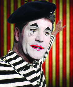 'Celebrity Mimes - Open photoshop contest is now closed. The contest received 40 submissions from 34 creatives. Mime Makeup, Halloween Makeup, Joker Clown, Celebrity Costumes, Pantomime, Simon Cowell, Halloween Photos, Photoshop Design, Colourful Outfits