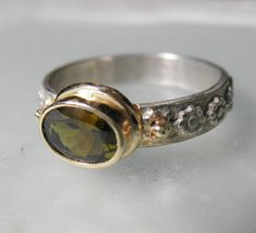 Sterling Silver 14K gold Olive Tourmaline Ring  by GenJewel