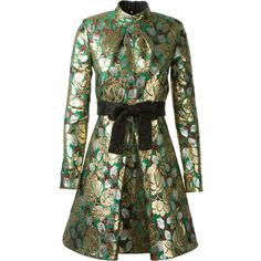 Saint Laurent Gold And Green Lamé Floral Printed Dress ($4,175) ❤ liked on Polyvore featuring dresses, long sleeve dress, long cocktail dresses, sequined dresses, long-sleeve floral dresses and gold cocktail dress