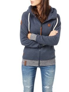 Naketano Sweatjacke mit Kapuze Dunkelblau meliert - 1 Outfit, Hooded Jacket, Athletic, Hoodies, Sweaters, Fashion, Dark Blue, Jackets, Outfits