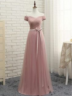 A-line Off-the-shoulder Prom Dresses Cheap Bridesmaid Dress SKY338 #fashion #simple #long #belt #Bridesmaid #prom