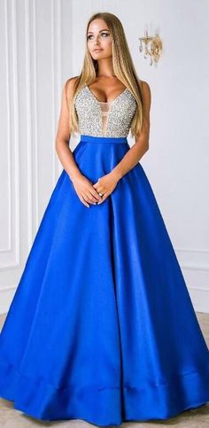 Elegant A-line V Neck Royal Blue Long Prom Dress with Sequins Top, 2019 Satin Prom Dress Formal Evening Dress Prom Dresses Long Modest, Inexpensive Prom Dresses, Senior Prom Dresses, Gorgeous Prom Dresses, Prom Dresses With Pockets, A Line Prom Dresses, Perfect Prom Dress, Pageant Dresses, Pretty Dresses