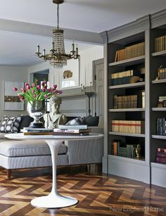 Glimmer of Gray - Design Chic- love seeing the books in the bookcase and the herringbone wood floors, gorgeous! Flooring, House Design, Interior Design, New England Homes, Grey Bookshelves, Home, Interior, Herringbone Wood Floor, Built In Bookcase