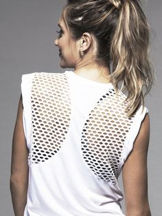 The Upside Muscle Tank with Mesh in White #carbon38