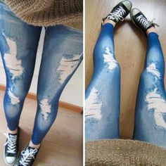 Sexy Fashion Women Slim Punk Ripped Hole Jeans Denim Leggings Pants (Size: One Size) Ripped Leggings, Cute Leggings, Jeggings, Leggings Are Not Pants, New Pant, Jeans Style, Sexy, Denim Jeans, Collection