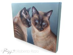 Custom Cat Portrait FOR TWO CATS, Pet portrait, Cat Painting, Cat art - Painting on Stretched Canvas from your Photographs by Roberto Rizzo   #cats #cat #portrait #catportrait #petportraits #fineart #art #robertorizzo #etsy #etsyfinds #etsyshop #catgift