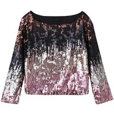 Pink Faded Sequined Long Sleeve Crop Top (205 BRL) ❤ liked on Polyvore featuring tops, pink top, black top, long crop tops, long tops and black sequin top