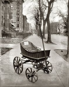 """Washington, D.C. """"Baby carriage. November 3, 1921."""" The inscription: """"This wagon was made by Issacher Hughes in Richmond, Va., in 1808 for his first-born son. Has been used by six generations. Presented to the Association of Oldest Inhabitants, District of Columbia, Nov. 2, 1921, by his grandson, James W. Hughes."""""""
