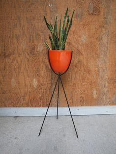 Mid Century  Bullet Plant Stand Orange by ELEMENTSofIRONnWOOD