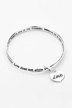 Engraved Love Is Bracelet in Silver