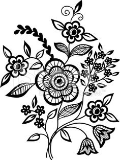 Vector Beautiful Black And White Floral Pattern Design Element